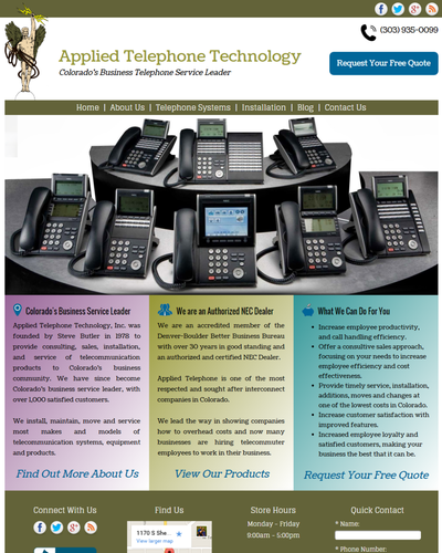Applied Telephone Technology, Denver, Colorado by W3Now Web Design
