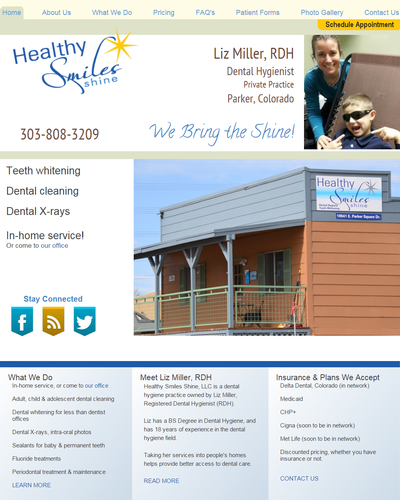 Healthy Smiles Shine, Parker, Colorado by W3Now Web Design