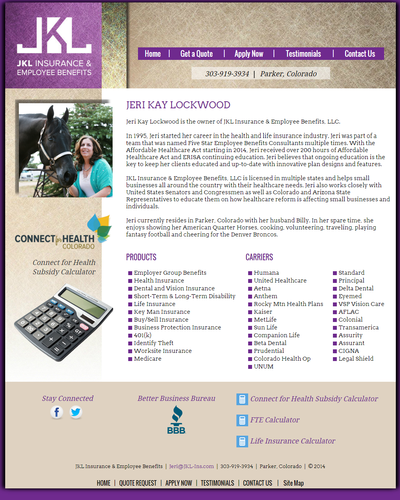 JKL Insurance & Employee Benefits, LLC in Parker, Colorado by W3Now Web Design
