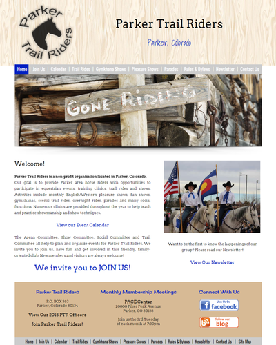 Parker Trail Riders,  Parker, Colorado by W3Now Web Design