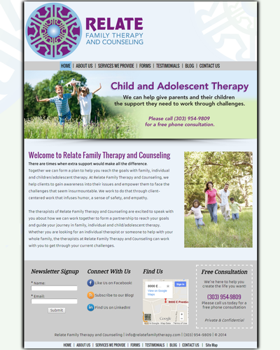 Relate Family Therapy and Counseling, Greenwood Village, Colorado by W3Now Web Design