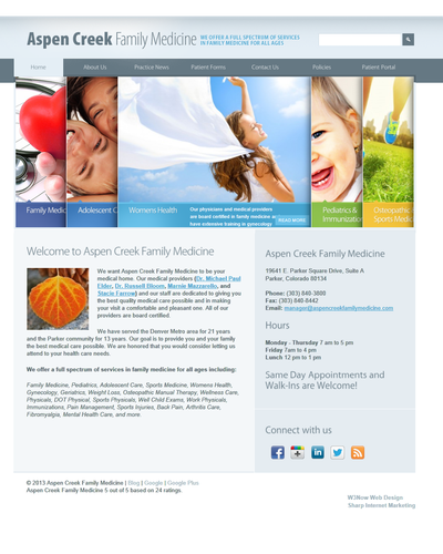 Aspen Creek Family Medicine, Parker, Colorado by W3Now Web Design