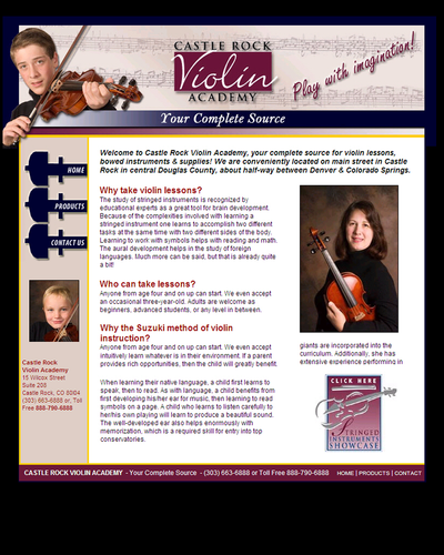 Castle Rock Violin Academy, North Carolina by W3Now Web Design