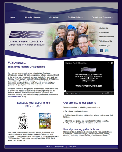 Highlands Ranch Orthodontics , Colorado by W3Now Web Design