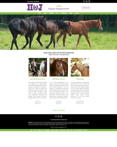 H & J Equine, Inc. - EQUINE CBD Oil SUPPLEMENTS, Colorado by W3Now Web Design