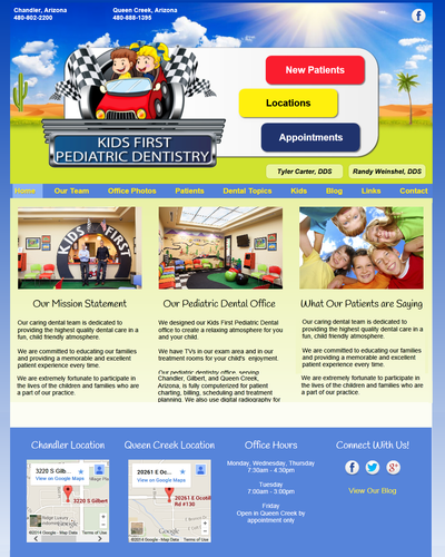 Kids First Pediatric Dental, Arizona by W3Now Web Design
