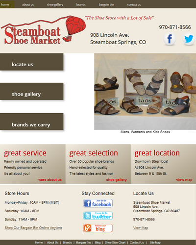 Steamboat Shoe Market in Steamboat Springs, Colorado by W3Now Web Design