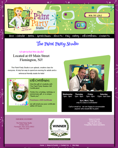 The Paint Party Studio, New Jersey by W3Now Web Design