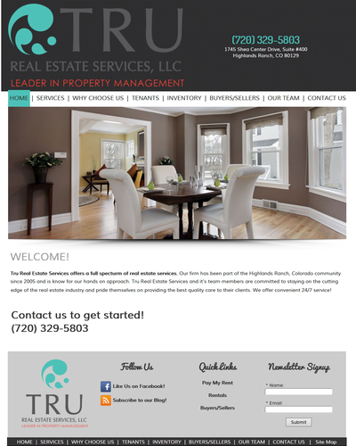 Tru Real Estate Services, Highlands Ranch, Colorado by W3Now Web Design